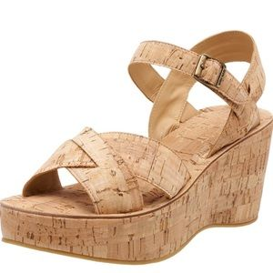 Kork-Ease Ava Natural Cork Buckle Heeled Sandals